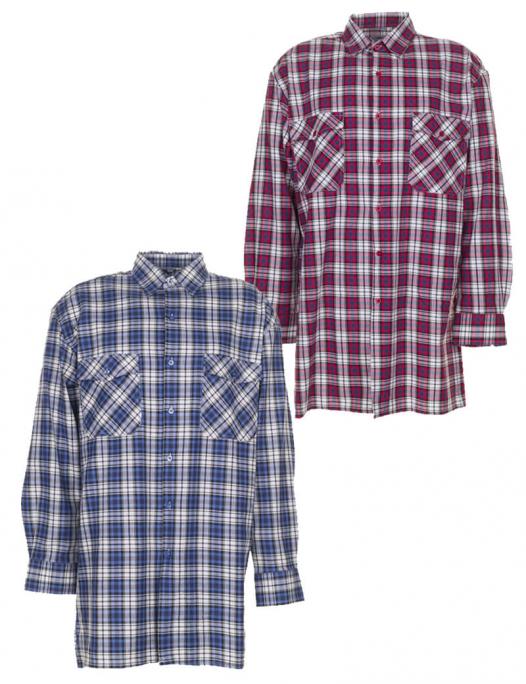 planam, flanellhemd, flanell, hemd, langarm, karo, caro, kariert, winter, 045, rot, blau, arbeitskleidung, berufskleidung-Planam Flanell Hemd-PL-045